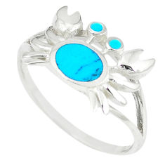 Fine turquoise enamel 925 sterling silver crab ring size 8 a66701 c13373