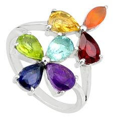 Flower multi-gems natural healing energy 925 silver chakra ring size 6 r65246