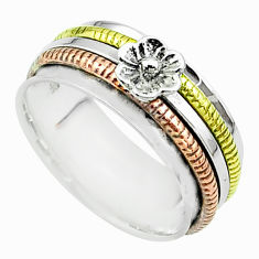 6.65gms flower victorian 925 silver two tone spinner band ring size 8 t51747