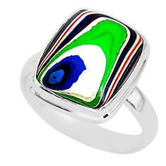 6.45cts fordite detroit agate 925 silver solitaire ring jewelry size 8.5 r92781