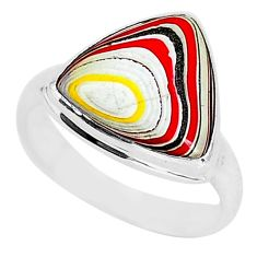 7.24cts fordite detroit agate 925 silver solitaire handmade ring size 8.5 r92826