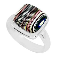 4.26cts fordite detroit agate 925 silver solitaire handmade ring size 6.5 r92835