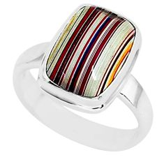 4.82cts fordite detroit agate 925 silver solitaire handmade ring size 6 r92827