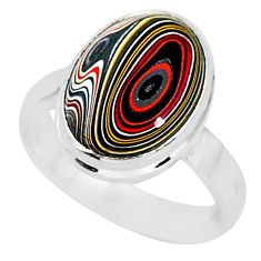 4.34cts fordite detroit agate 925 silver solitaire handmade ring size 6 r92838
