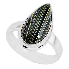 4.82cts fordite detroit agate 925 silver solitaire handmade ring size 6 r92839