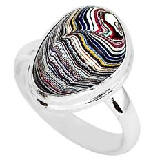 5.40cts fordite detroit agate 925 silver solitaire handmade ring size 6 r92897