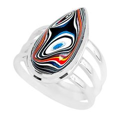 7.54cts fordite detroit agate 925 silver solitaire ring jewelry size 7 r92800