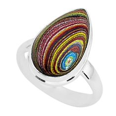 6.61cts fordite detroit agate 925 silver solitaire handmade ring size 7 r92819