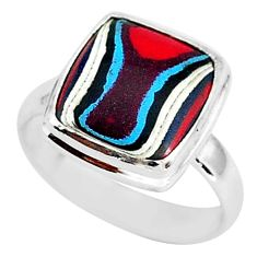 4.63cts fordite detroit agate 925 silver solitaire handmade ring size 7 r92894