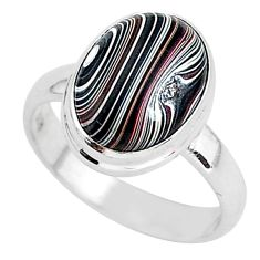 4.43cts fordite detroit agate 925 silver solitaire handmade ring size 7 r92900
