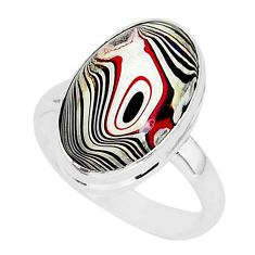 6.85cts fordite detroit agate 925 silver solitaire ring jewelry size 8 r92794