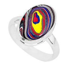 6.61cts fordite detroit agate 925 silver solitaire ring jewelry size 8 r92795