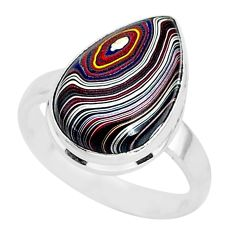 6.78cts fordite detroit agate 925 silver solitaire handmade ring size 8 r92805
