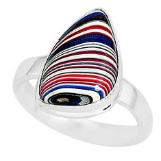 6.39cts fordite detroit agate 925 silver solitaire handmade ring size 8 r92821
