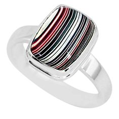 4.28cts fordite detroit agate 925 silver solitaire handmade ring size 8 r92824