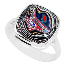 7.60cts fordite detroit agate 925 silver solitaire handmade ring size 9 r92833