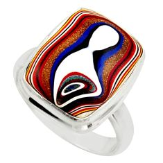 8.44cts fordite detroit agate 925 sterling silver solitaire ring size 7 d47425