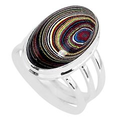 8.55cts fordite detroit agate oval silver solitaire handmade ring size 7 r92809