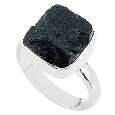 6.36cts freedom stone black tektite 925 sterling silver ring size 7 t14432