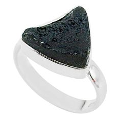 7.61cts freedom stone black tektite 925 sterling silver ring size 8 t14429
