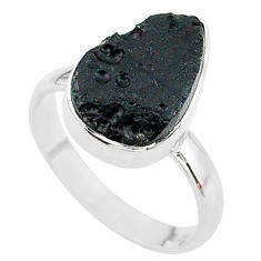 6.39cts freedom stone black tektite 925 sterling silver ring size 9 t14426