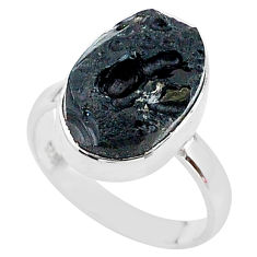 7.04cts freedom stone natural tektite 925 sterling silver ring size 8 t14383