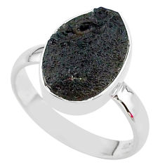 5.23cts freedom stone natural tektite 925 sterling silver ring size 8 t14396