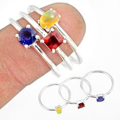 3.28cts garnet iolite ethiopian opal 925 silver stackable ring size 9 r79895