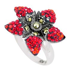 3.53cts red garnet quartz marcasite 925 sterling silver ring size 8 c15982