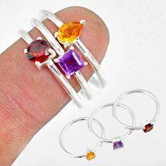 2.98cts garnet yellow citrine amethyst 925 silver stackable ring size 8 r79900