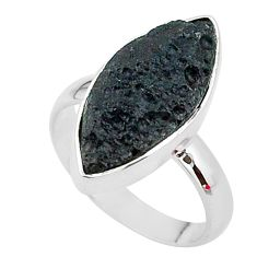 10.65cts gem from space black tektite 925 sterling silver ring size 7 t14411