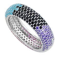 1.84cts gemstones infinity band 925 sterling silver eternity ring size 6 c23526