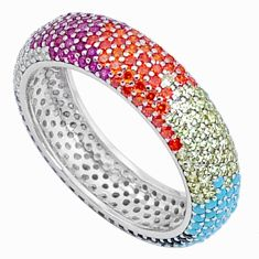 2.21cts gemstones infinity band 925 sterling silver eternity ring size 7 c23540