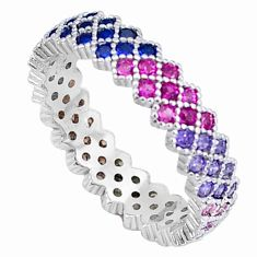 2.25cts gemstones infinity band 925 sterling silver eternity ring size 8 c23532