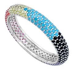2.11cts gemstones infinity band 925 sterling silver eternity ring size 9 c23525