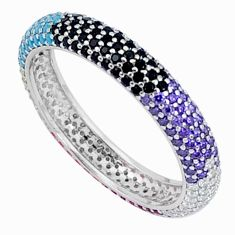 2.11cts gemstones infinity band 925 sterling silver eternity ring size 9 c23529