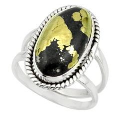 6.97cts golden pyrite in magnetite (healer's gold) 925 silver ring size 7 r42237
