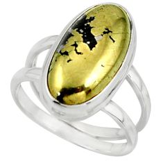 7.33cts golden pyrite in magnetite (healer's gold) 925 silver ring size 7 r42240