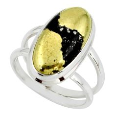 7.43cts golden pyrite in magnetite (healer's gold) 925 silver ring size 7 r42260
