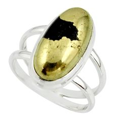 7.34cts golden pyrite in magnetite (healer's gold) 925 silver ring size 8 r42257