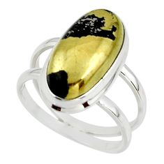 7.61cts golden pyrite in magnetite healer's gold 925 silver ring size 8.5 r42259