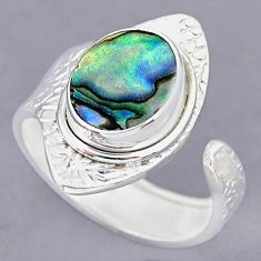 4.25cts green abalone paua seashell 925 silver adjustable ring size 8.5 r90535