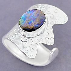 3.74cts green abalone paua seashell 925 silver adjustable ring size 7 r90567