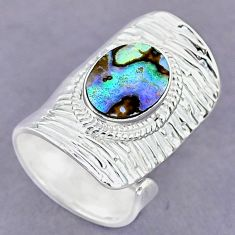 4.14cts green abalone paua seashell 925 silver adjustable ring size 7 r90631