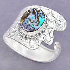 4.37cts green abalone paua seashell 925 silver adjustable ring size 9 r90591