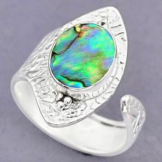 3.50cts green abalone paua seashell 925 silver adjustable ring size 9 r90659