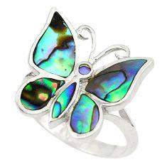 Green abalone paua seashell 925 silver butterfly ring jewelry size 6.5 c21953
