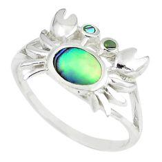 Green abalone paua seashell 925 silver crab ring jewelry size 7 a66702 c13374