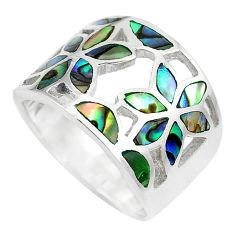 6.23gms green abalone paua seashell 925 silver flower ring size 6 a88779 c13490
