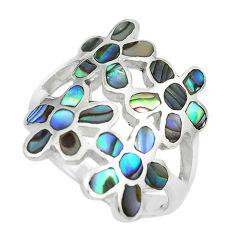 6.69gms green abalone paua seashell 925 silver flower ring size 8 c12960